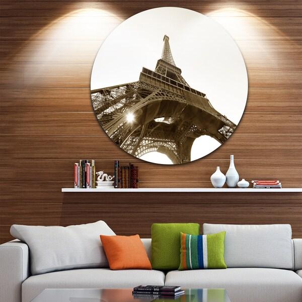 Designart 'Eiffel Tower Straight Into Sky' Photography Circle Wall Art