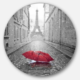 Designart 'Eiffel View from Paris Street' Cityscape Photo Large Circle Metal Wall art