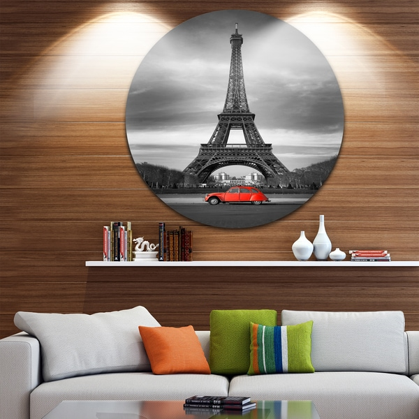 Designart 'Eiffel and Old Red Car' Landscape Art Round Wall Art