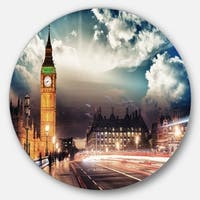 Designart 'Big Ben from Westminster Bridge' Cityscape Photo Disc Metal Artwork