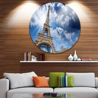 Designart 'Eiffel Under Blue Sky' Skyscape Photography Disc Metal Artwork