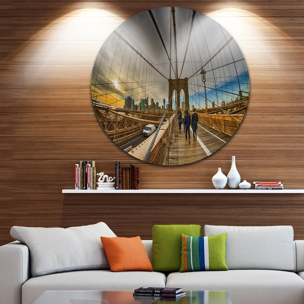 Designart 'Strolling on Brooklyn Bridge' Landscape Photo Round Metal Wall Art