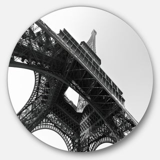 Designart 'Eiffel Tower into the Sky' Skyscape Photography Large Disc Metal Wall art