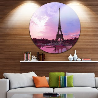 Designart 'Eiffel Tower in Purple Tone' Landscape Photo Round Wall Art