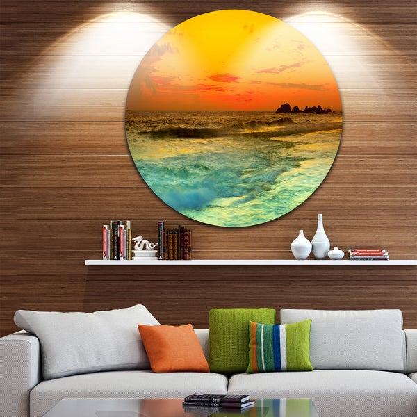 Designart 'Yellow Sunset Over Sea' Seascape Photo Circle Wall Art