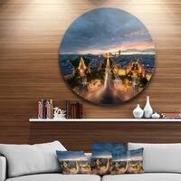 Designart 'Night Paris Amazing View' Skyline Photo Round Metal Wall Art
