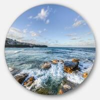 Designart 'White Waves in Bondi Beach' Beach Round Metal Wall Art