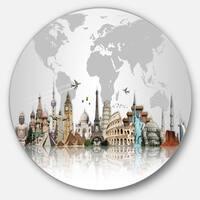 Designart 'Famous Monuments Across World' Art Circle Wall Art