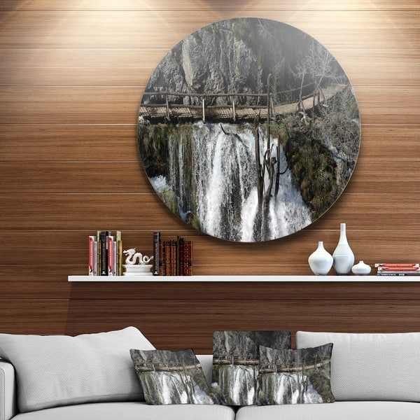 Designart Wooden Pathway In Plitvice Lakes Landscape Photo Circle Wall Art Overstock 14254111