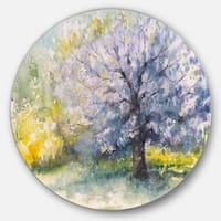 Designart 'Blooming Cherry Tree' Floral Watercolor Circle Wall Art