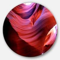 Designart 'Antelope Canyon Light Rays' Landscape Photo Round Wall Art