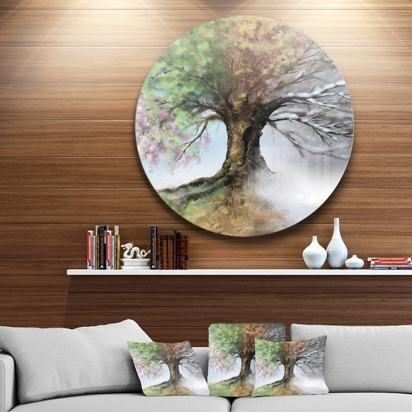 Designart U0026#x27;Tree With Four Seasonsu0026#x27; Tree Painting Large Circle