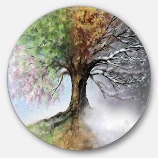 Designart 'Tree with Four Seasons' Tree Painting Large Circle Metal Wall art