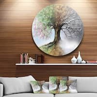 Designart 'Tree with Four Seasons' Tree Painting Large Circle Metal Wall art