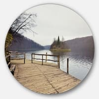 Designart 'Plitvice Lakes Wooden Bridge' Landscape Photo Round Metal Wall Art