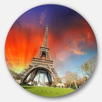 Designart 'Eiffel Tower Under Colorful Sky' Landscape Photo Disc Metal Wall Art