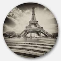 Designart 'Eiffel Tower in Gray Shade' Landscape Photo Disc Metal Artwork
