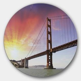 Designart 'Gold Gate Bridge and Sky' Landscape Photo Circle Wall Art