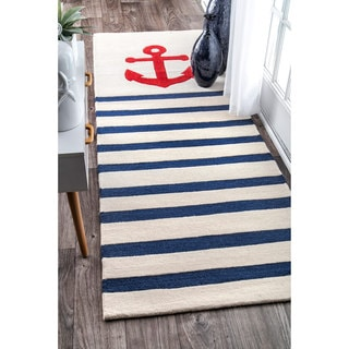 nuLOOM Handmade by Thomas Paul Anchor Nautical Ivory Striped Runner Rug (2'8 x 8')