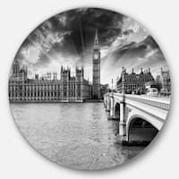 Designart 'Westminster Palace in Gray Shade' Photography Round Metal Wall Art