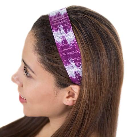 Handmade Cotton Headband, 'Amethyst Twilight' (Guatemala)