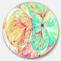 Designart 'Red Green Paper Flower' Floral Art Disc Metal Wall Art