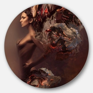 Designart 'Sexy Woman in Burning Paper' Art Portrait Disc Metal Wall Art