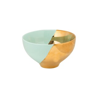 10 Strawberry Street Turquoise and Gold Porcelain 2-tone Cereal Bowl (Case of 4)