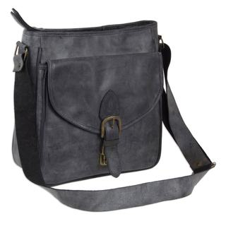 Handmade Leather Shoulder Bag, Dark Grey Freedom (Mexico)