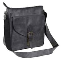 Handmade Leather Shoulder Bag, Dark Grey Freedom (Mexico)