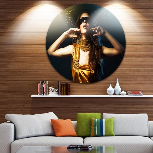 Designart 'Woman in Yellow with Mask' Art Portrait Circle Wall Art