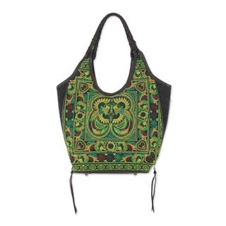 Handmade Leather Accent Embroidered Shoulder Bag, Jade Pheasants (Thailand)