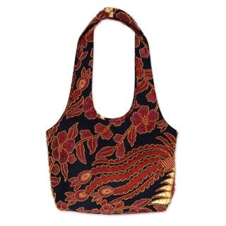 Handmade Beaded Cotton Batik Shoulder Bag, 'Black Sawunggaling' (Indonesia)