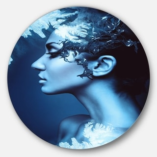 Designart 'Winter Woman with Splash' Art Portrait Round Metal Wall Art