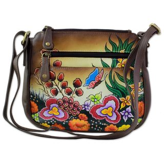Handmade Leather Sling Bag, Springtime Daisies (India)