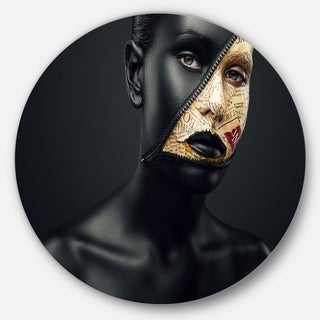 Designart 'Woman with a Zip on Face' Art Portrait Large Disc Metal Wall art