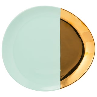 10 Strawberry Street Turquoise and Gold Porcelain 2-tone Oval Dinner Plate (Case of 4)