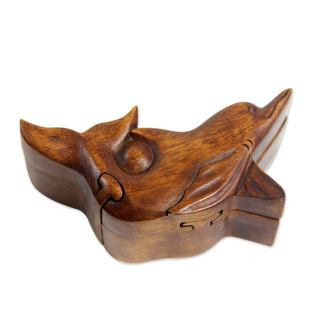Handmade Wood Puzzle Box, Lovina Dolphin (Indonesia)