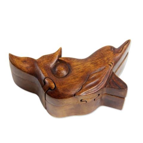 Handmade Wood Puzzle Box, Lovina Dolphin (Indonesia)
