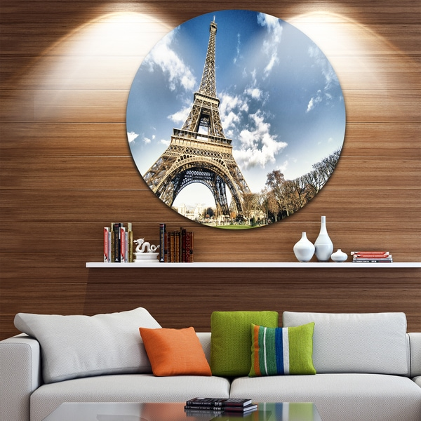 Designart 'Eiffel Under Dark Cloudy Sky' Landscape Photo Disc Metal Wall Art