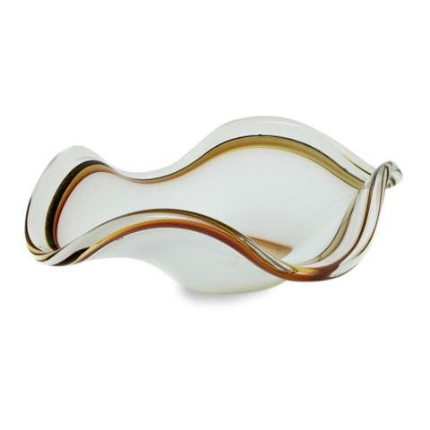 Handmade Hand-blown Art Glass Centerpiece, Radiant Waves (Brazil)