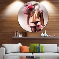 Designart 'Erotic Flower Woman in Panties' Art Portrait Disc Metal Artwork