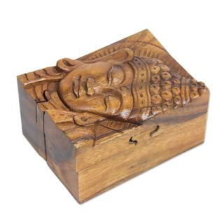 Handmade Wood Puzzle Box, Glorious Buddha (Indonesia)