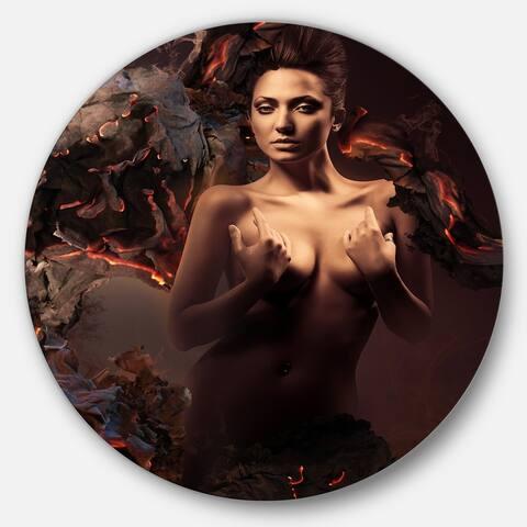 Designart 'Sexy Nude Woman in Burning Paper' Art Portrait Circle Wall Art
