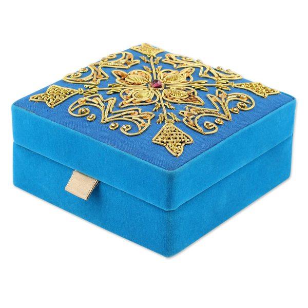 Handmade Embroidered Velvet Box, Royal Sky (India)