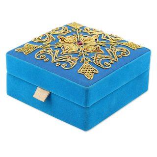 Embroidered Velvet Box, Royal Sky (India)