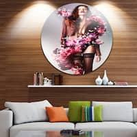 Designart 'Erotic Flower Woman in Jacket' Art Portrait Round Metal Wall Art