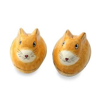 Handmade Pair of Papier Mache Boxes, 'Charismatic Rabbits' (India)