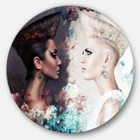 Designart 'Evil and Good Women Face to Face' Art Portrait Round Wall Art