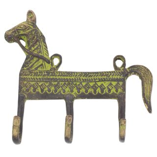 Brass Coat Rack, 'Helpful Horse' (India)